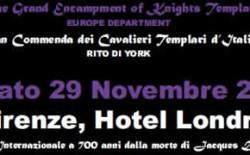 Meeting Internazionale a 700 anni dalla morte di De Molay il 29 novembre a Firenze