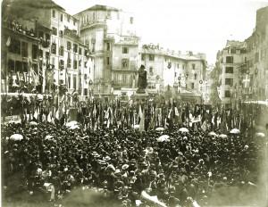 Roma, Campo de' Fiori, 9 giugno 1889, inaugurazione della statua a Giordano Bruno opera dello scultore Ettore Ferrari, futuro Gran Maestro del Grande Oriente d'Italia