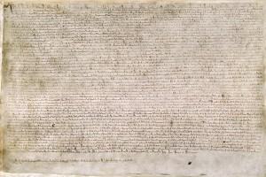 Una delle quattro copie conformi sopravvissute del testo del 1215. Cotton MS. Augustus II. 106, conservato alla British Library di Londra