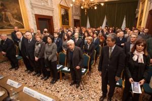 In prima fila, il Primo Gran Sorvegliante Seminario, il Gran Maestro Onorario Volli, il Sovrano Gran Commendatore Milazzi