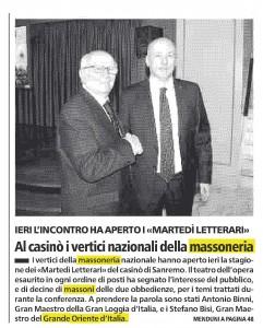 In prima pagina, La Stampa, Imeria del 27 gennaio 2016