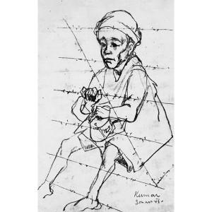 """Immagine tratta dal libro """"K.Z. Disegni degli internati nei campi di concentramento nazifascisti"""" di Arturo Benvenuti, con prefazione di Primo Levi"""
