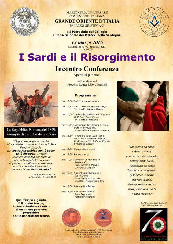 Locandina I Sardi e il Risorgimento