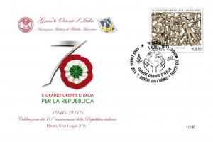Busta filatelica per i 70 anni della Repubblica Italiana (Aifm-Goi)