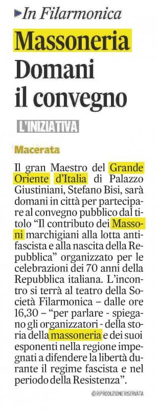 L'articolo sul Corriere Adriatico, Macerata del 14 maggio 2016