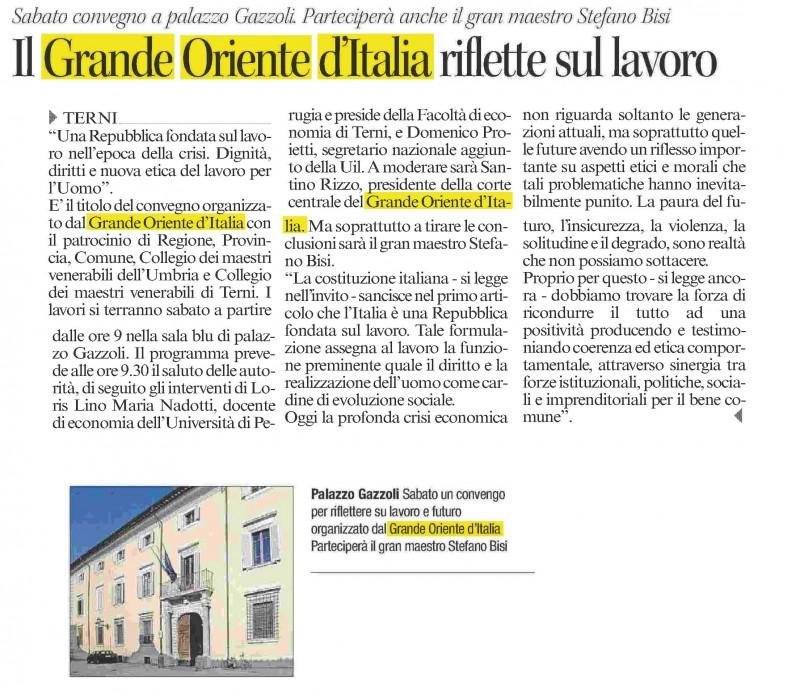 L'articolo sul Corriere dell'Umbria del 6 aprile 2016