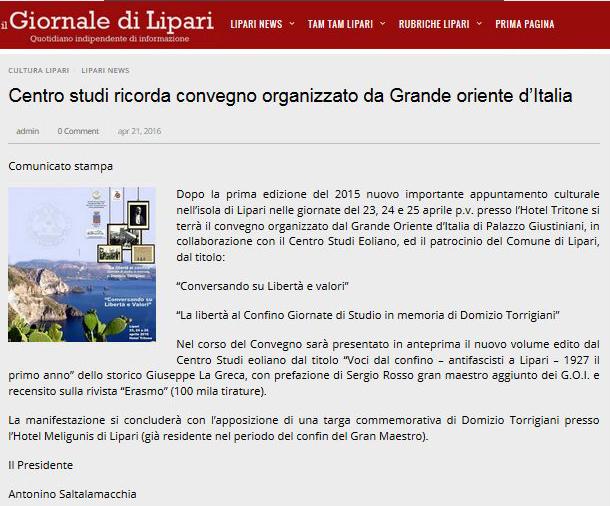 Il Giornale di Lipari 21.04.2016