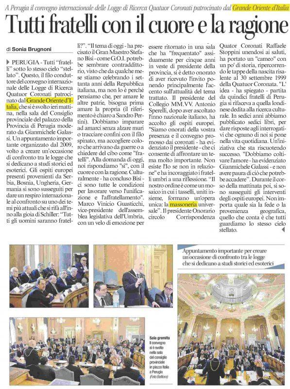 L'articolo sul Corriere dell'Umbria del 23 maggio 2016