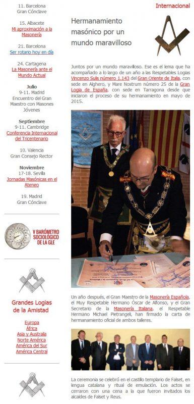 """L'articolo su """"El Oriente"""" la newsletter della Gran Loggia di Spagna"""