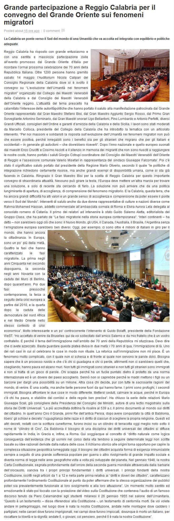 L'articolo pubblicato  il 17 maggio 2016 dal giornale web Il Metropolitano