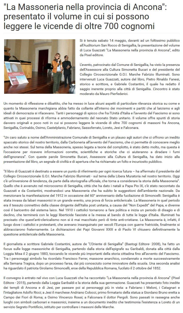 L'articolo su Vivere Ancona del 20 maggio 2016