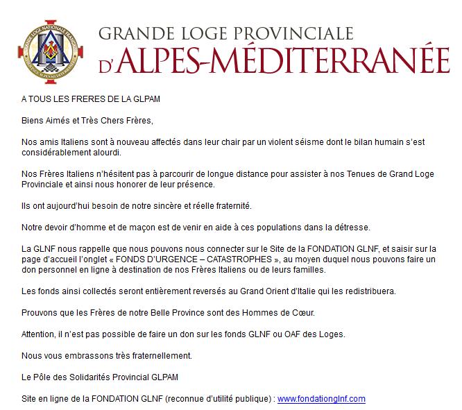 Appello a donare della Gran Loggia Provinciale delle Alpi Mediterranne della Gran Loggia Nazionale Francese