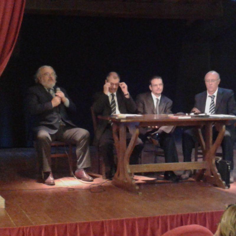 Un momento del Talk Show. Da sinistra: Francesco Borgognoni, Giovanni Greco, Gianmichele Galassi, Claudio Giomini.