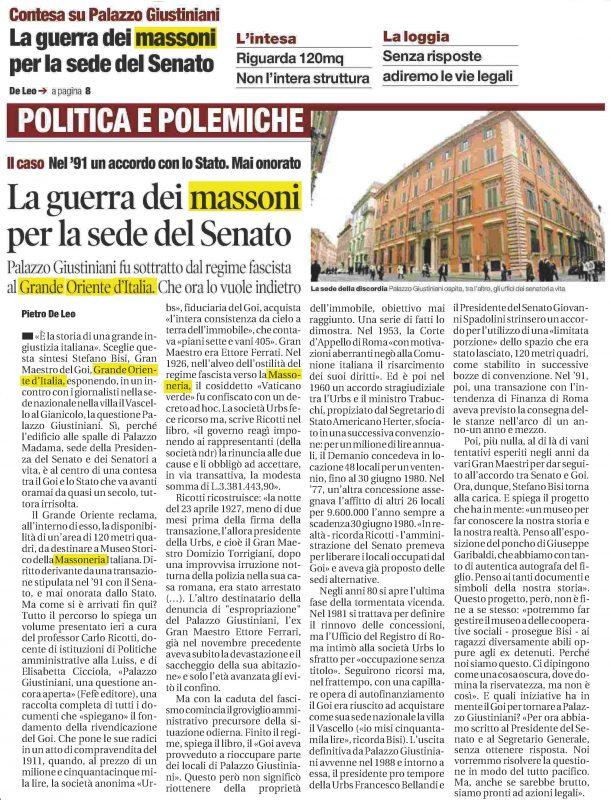 """L'articolo del Quotidiano """"Il Tempo"""" pubblicato il 20 settembre 2016"""