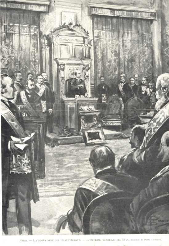Il Gran Maestro Ernesto Nathan inaugura la nuova sede del Grande Oriente a Palazzo Giustiniani