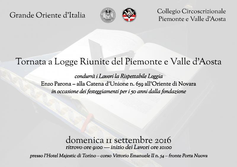 Tornata logge riunite Piemonte-Valle d'Aosta 11 settembre 2016