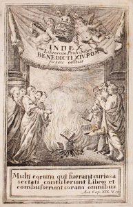 Antiporta dell'Index Librorum Prohibitorum(1790) riprodotto nell'invito del convegno