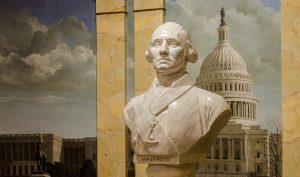 Busto di George Washington con le insegne massoniche con la Casa Bianca sullo sfondo
