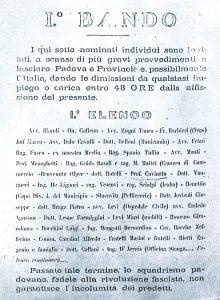 Bando contro i massoni di epoca fascista, affisso a Padova nel 1926