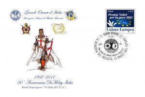 Busta Filatelica per il 20esino anniversario del DeMolay Italia