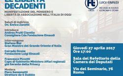 Le libertà decadenti, convegno della Fondazione Einaudi il 27 aprile. Il Gran Maestro Bisi fra i relatori