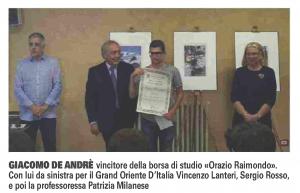 A Giacomo De Andrè la borsa di studio «Orazio Raimondo» delGrandeOrientedellamassoneria | La Riviera