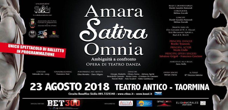 A Taormina l'opera di teatro danza Amara Satira Omnia con il contributo della Massoneria siciliana