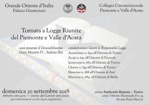 Il Gran Maestro il 30 settembre a Torino per la tornata a logge riunite del Collegio di Piemonte e Valle d'Aosta