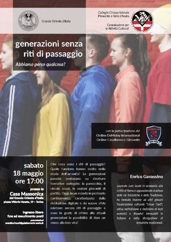 Generazioni senza riti di passaggio. Torino 18 maggio 2019